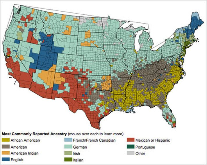 This map shows common ancestries throughout the United States and is ...