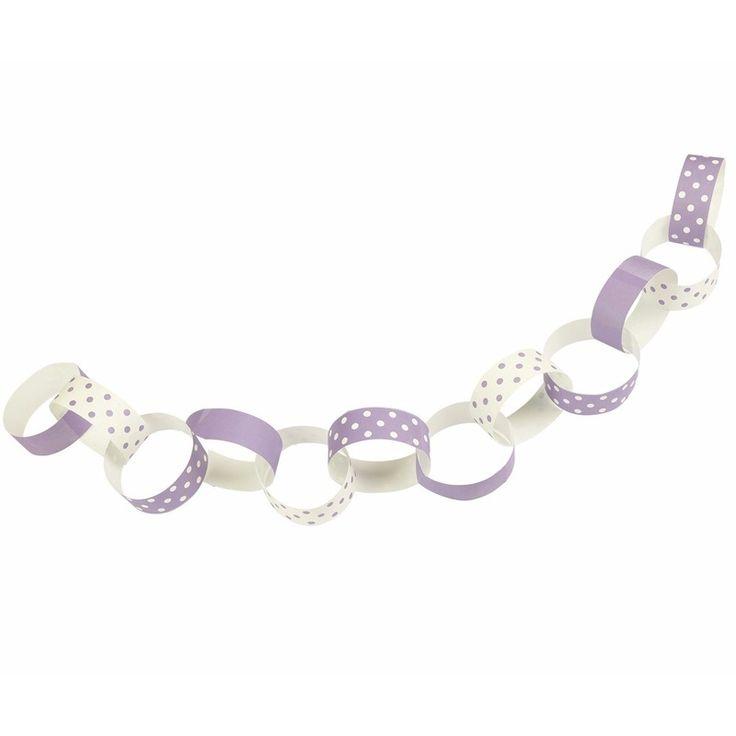 Ketting slinger met lila paarse en witte ringen met stipjes. De slinger bestaat uit 36 ringen. Materiaal: Papier. Lengte: ongeveer 240 cm.