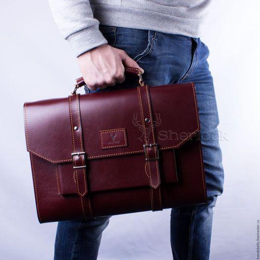 Мужские сумки ручной работы. Ярмарка Мастеров - ручная работа. Купить Деловой портфель мужской коньячный арт. 8031 купить. Handmade.