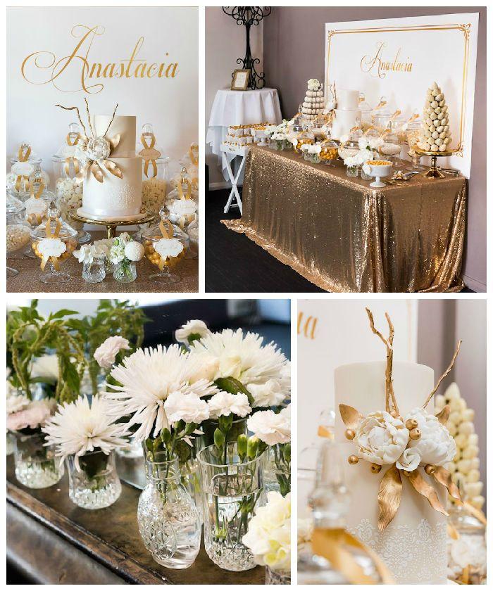 Elegant Party Decoration Ideas: Elegant Gold + White Baptism Party Via Kara's Party Ideas