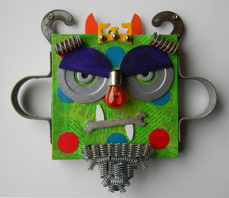 """RESERVED LISTING for Nancy - Recycled Art Collage - """"Jack, The Grumpy Monster King"""" - Original Mixed Media. $80.00, via Etsy."""