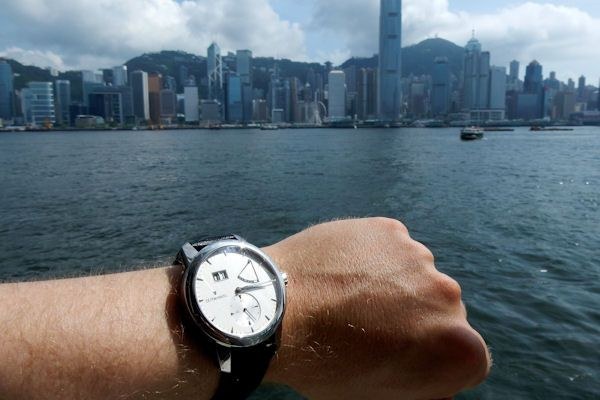 On the ferry boat heading  to Hong Kong  with the Zeitwinkel 273°