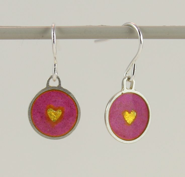 Silver plique a jour enamel, stained glass earrings, pink with golden hearts by imogenhose on Etsy