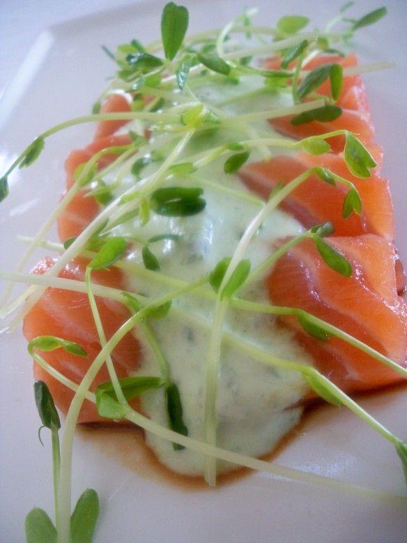 Salmon Sashimi With Cilantro Jalapeno Sauce