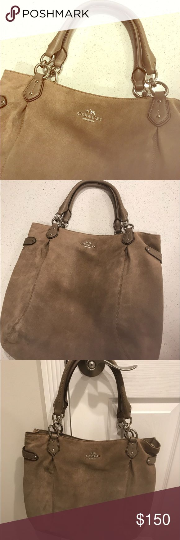 COACH large suede tote / shoulder bag- almost new! COACH shoulder bag/ tote in suede, taupe color. In great condition. Gently used for fall season. Dry cleaned and ready to be used again. Comes with original tag and care card. Great price!! Coach Bags Shoulder Bags