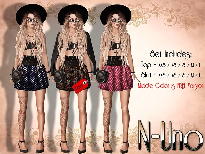 N-Uno Store - Skirt & Top - Summer Day -BLACK FREE