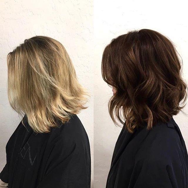 Fall Hair : Blonde to dark : rich brown : chocolate brown : warm brown : brown hair : lob : bob : textured bob