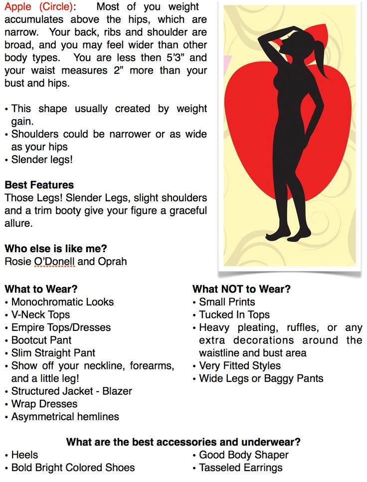 """Fashion tips for the apple body shape.  What to wear and not to wear. A page out of my book """"Overcoming Your Wardrobe"""""""