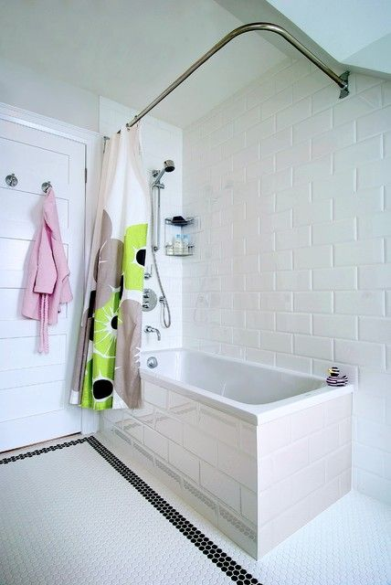 Exciting Chrome Shower Curtain Rods Design At Modern Bathroom With Geometrical Bath Tub