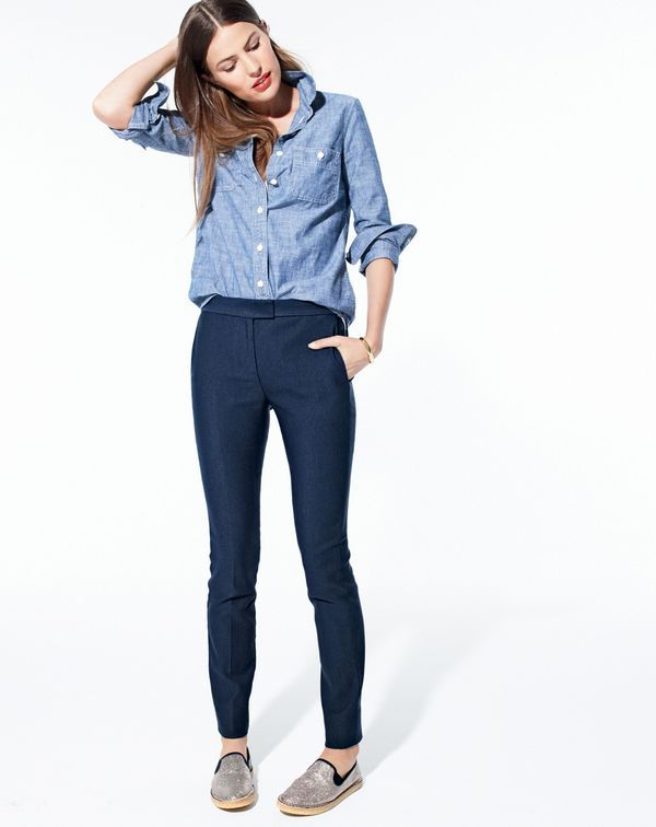 J.Crew women's selvedge chambray shirt, Ryder pant, glitter crepe loafers and studded cuff bracelet.