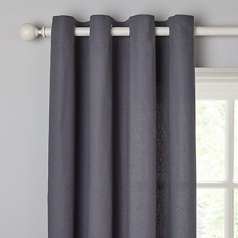 Buy John Lewis The Basics Plain Cotton Unlined Eyelet Curtains, Steel Online at johnlewis.com