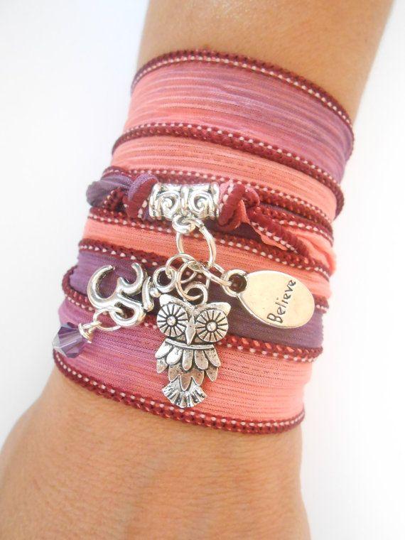 Owl JewelrySilk wrap bracelet NamasteSpiritualOwl van HVart op Etsy, $29.95