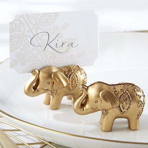 Lucky Golden Elephant Place Card Holders by Beau-coup