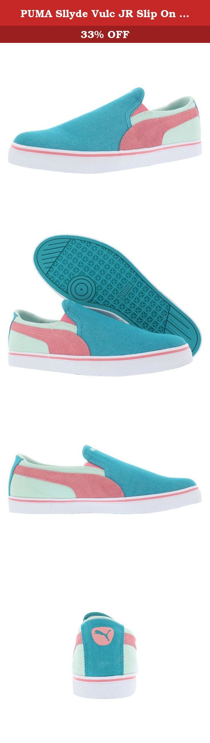 PUMA Sllyde Vulc JR Slip On (Little Kid/Big Kid) , Capri Breeze/Salmon Rose/Bay, 7 M US Big Kid. Keep your little guy set to jet with the Puma Sllyde Vulc Slip-On Shoes!Its combination canvas and suede upper offers durability and a rich look,while the mesh lining keeps his feet comfy.Sitting atop a vulcanized rubber sole,this sneaker is perfect for on-the-go dudes!The Puma Sllyde Vulc Slip-On shoes have cushioned insole and mesh lining.Made for easy wear,this shoe can be the perfect one…