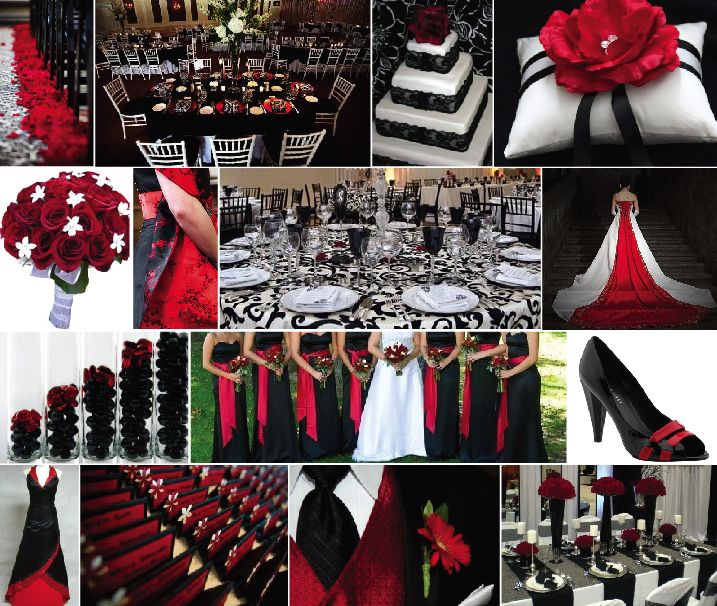 pictures of black white and red weddings Color Combination 3