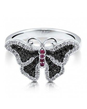 """Коктейльное кольцо """"Бабочка"""" с розовыми и черными цирконами CZ из стерлингового серебра - Косметика для Всех - безупречное качество косметики, парфюмерии и украшений"""