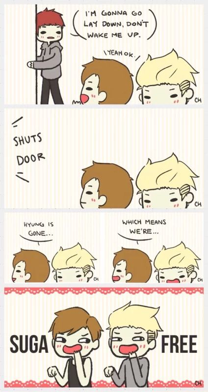 BTS fanart | red Suga, brown V & blonde Rap Monster ~ Whoever made this, I love you xD I can totally see this happen