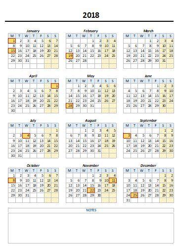 excel calendar template 2018