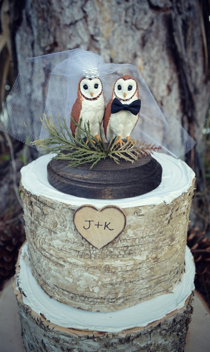 If you're a couple looking for a whimsical cake topper, we recommend this beautiful owl cake topper from MorganTheCreator via etsy.  #caketopper #owls #rustic