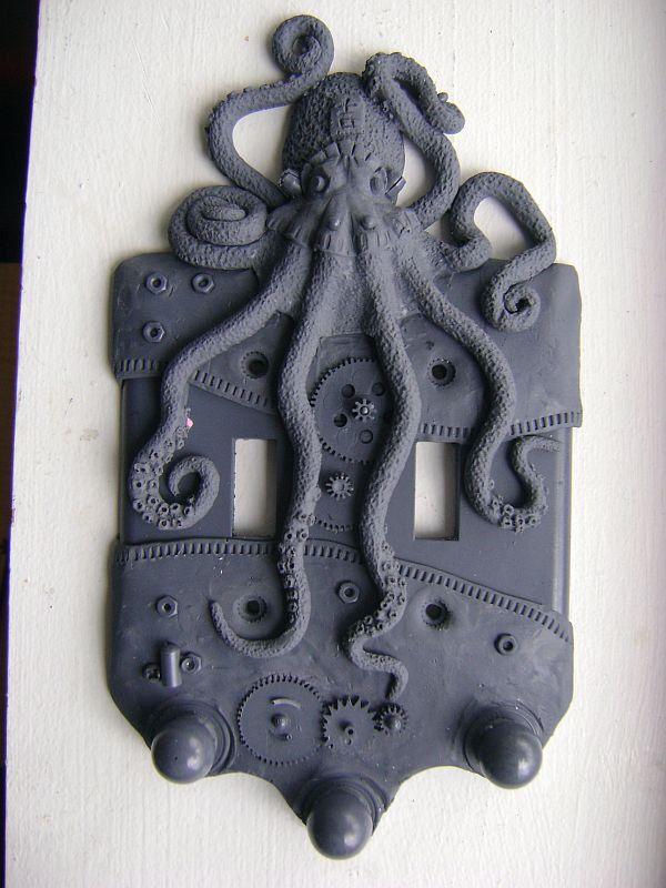 Charcoal Steampunk Octopus Light Switch Plate Wall Decor Sculpture Art Home Decor. $15.00, via Etsy.