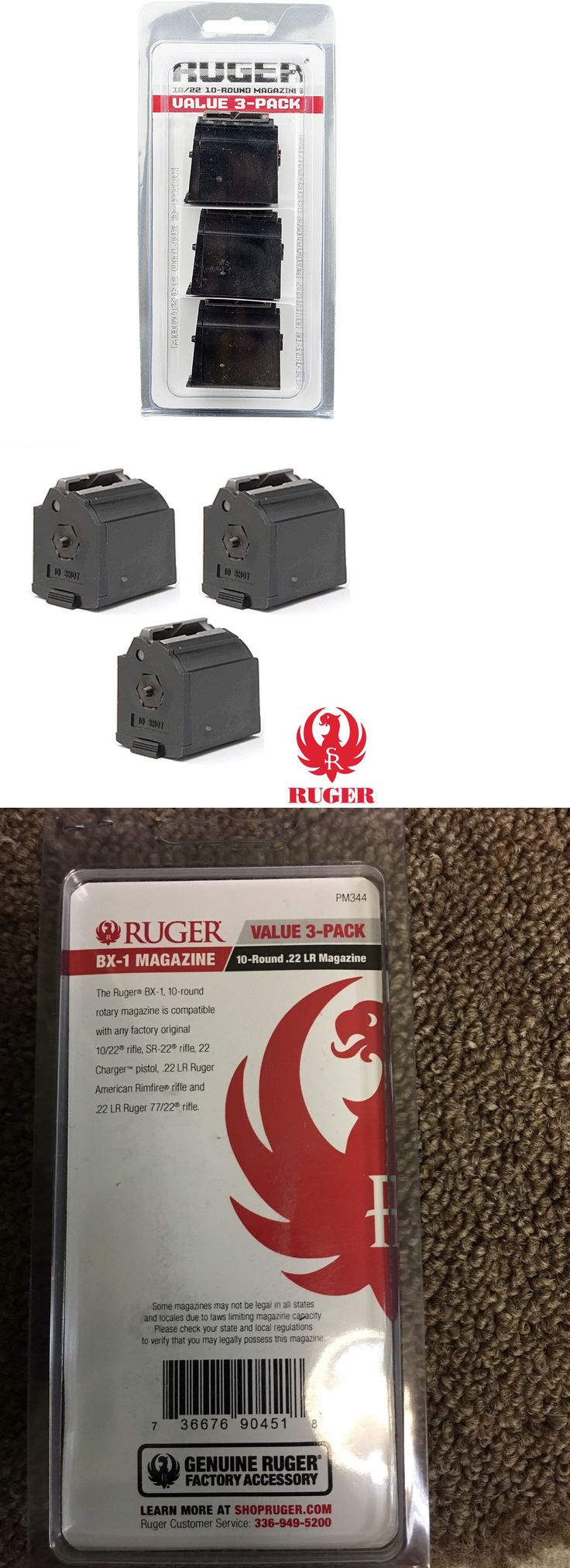 Magazines 177879: 3 Pack Ruger 10 22 Bx-1 Magazine 10-Round 22-Lr Value Genuine Oem Clip 90451 New -> BUY IT NOW ONLY: $32.99 on eBay!
