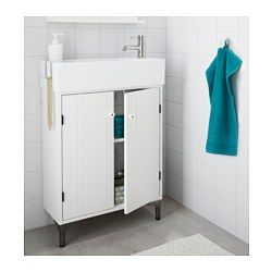 IKEA - SILVERÅN / LILLÅNGEN, Sink cabinet with 2 doors, , Perfect in a small bathroom since the sink cabinet is shallow.Adjustable feet for increased stability and protection against a wet floor.