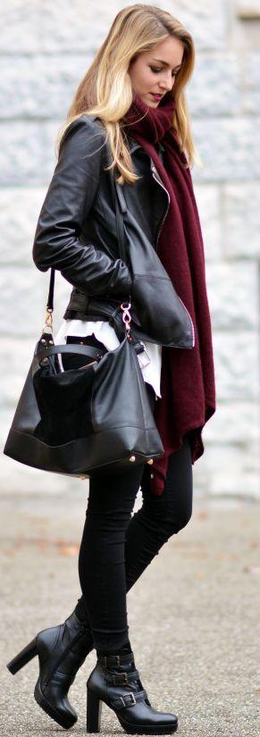 #fall #fashion / burgundy scarf + leather
