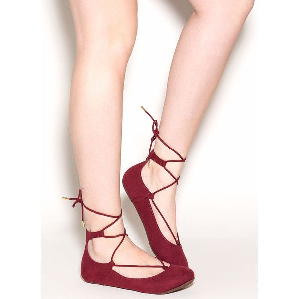 Seize The Day Lace-Up Ballet Flats BURGUNDY ($19) ❤ liked on Polyvore featuring shoes, flats, red, round toe ballet flats, red flats, lace up flats, vegan shoes and burgundy flats