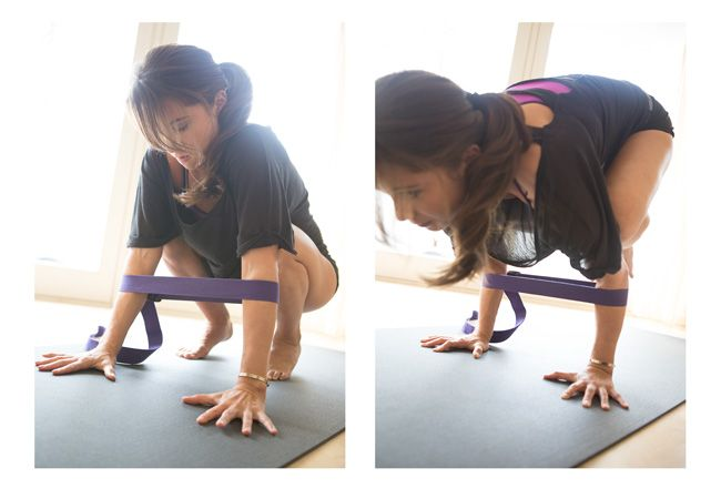 correa de yoga en las balanzas de brazo