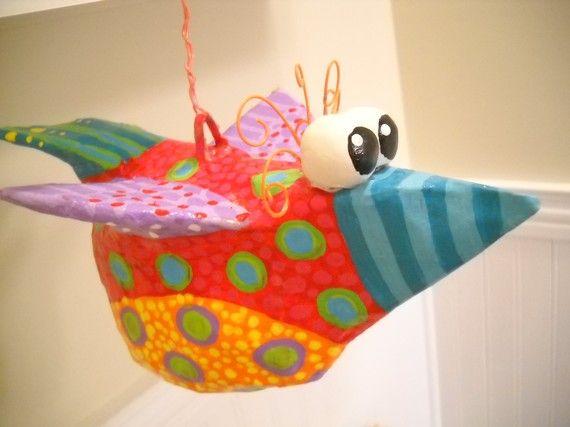Papier Mache skurrilen Vogel Skulptur von SummerHouseGal auf Etsy