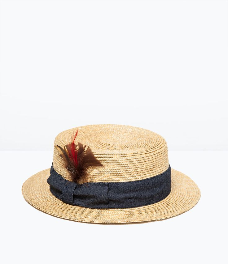 Image 1 of STRAW HAT WITH FEATHER from Zara