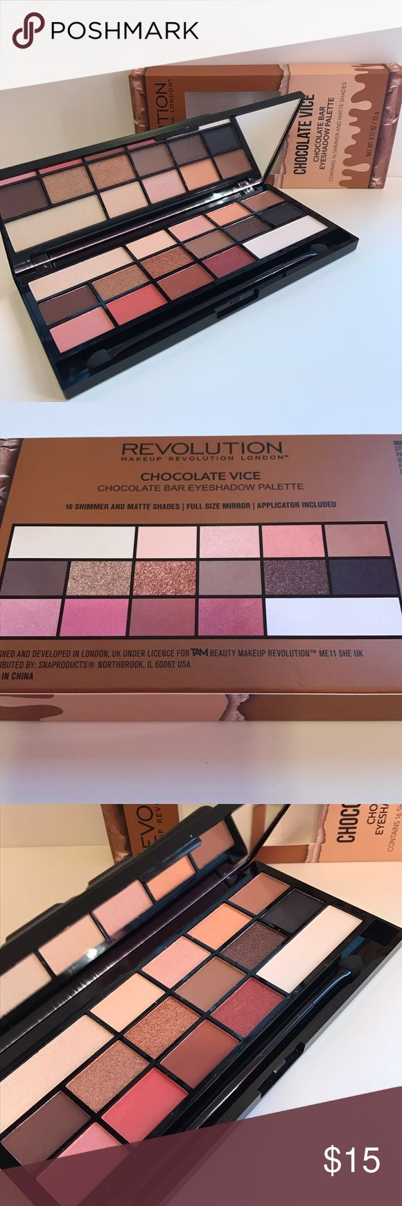 """Makeup Revolution """"Chocolate Vice"""" palette Makeup Revolution """"Chocolate Vice"""" palette. 16 shimmer and matte shades. This is their version of the Too Faced Chocolate bars. Brand new, never used or swatched. No trades, price firm. Makeup Revolution Makeup Eyeshadow"""