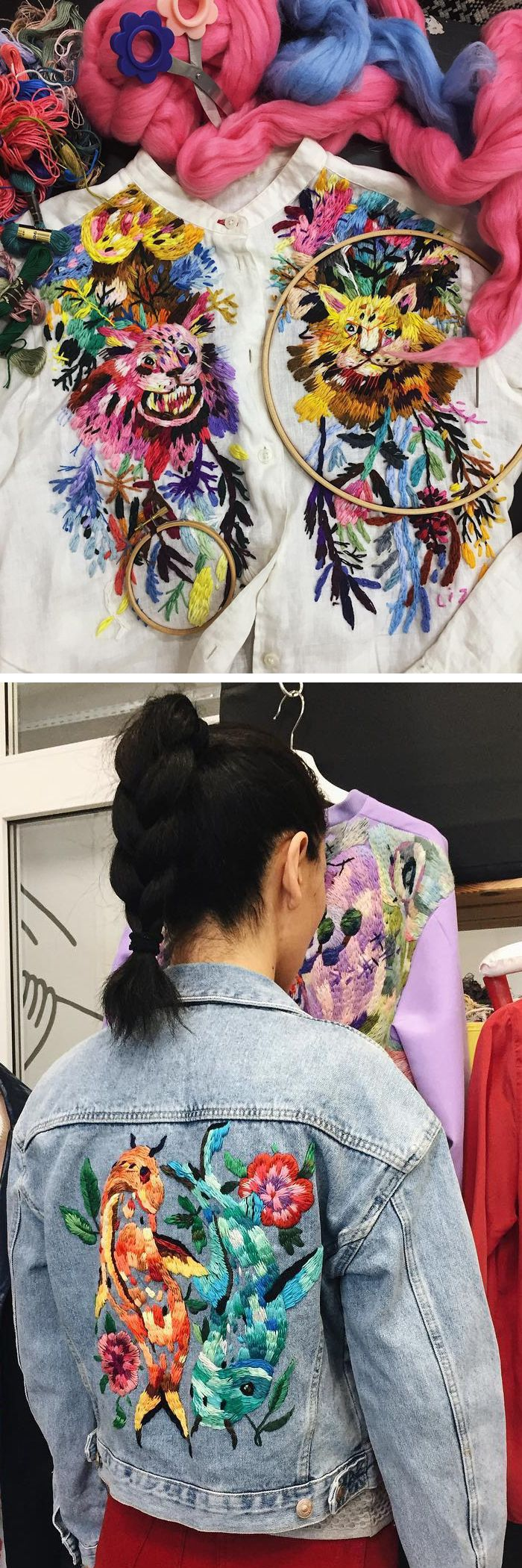 Custom embroidered clothing by Lisa Smirova