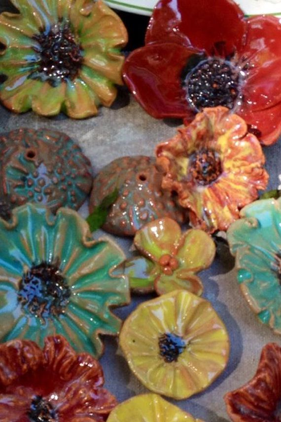 Ceramic Flowers on Etsy, $7.00