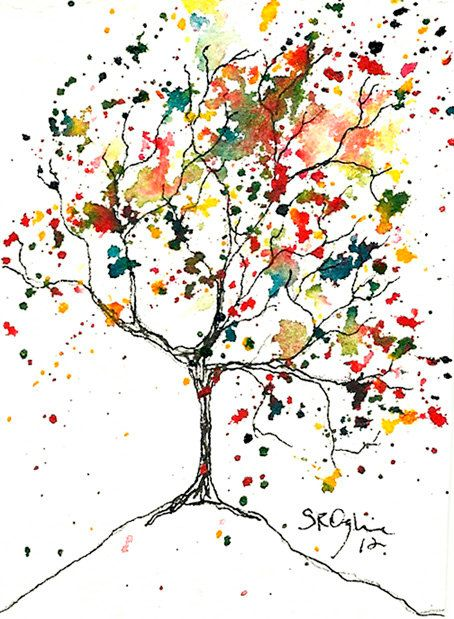 Tiny Swirl Tree ACEO Original watercolor and ink by Shelleyroze