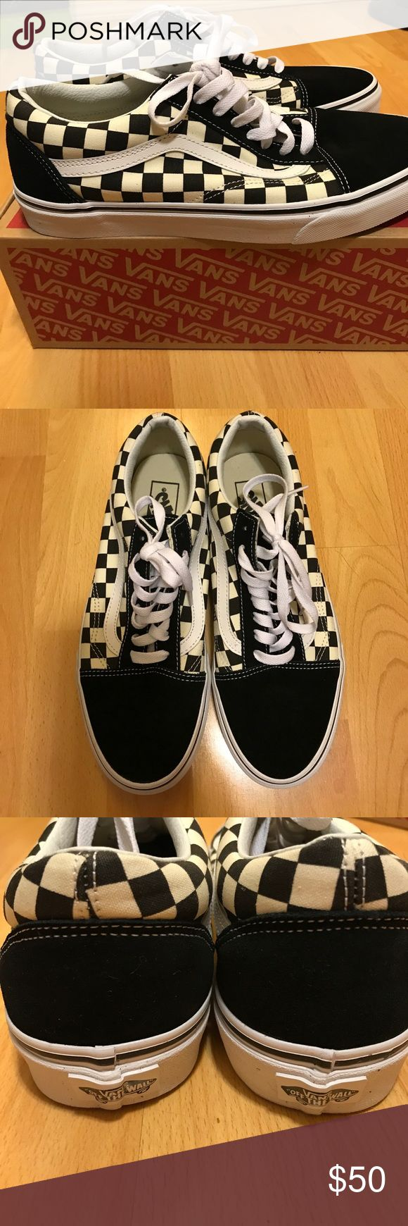 Vans Primary Check Old Skool Shoes Never-been-worn Vans skate shoes in the iconic checkerboard print with original box. No offers/trades, price firm. Vans Shoes Sneakers