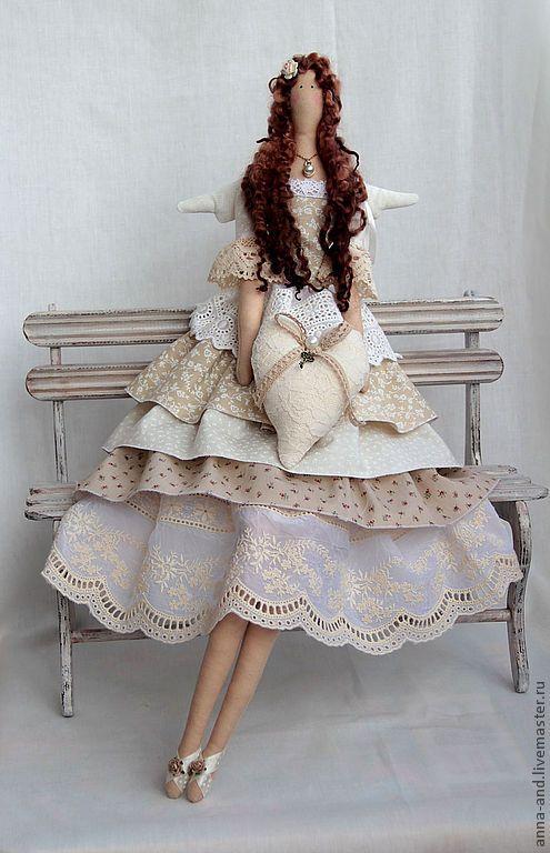 Фея любви Айвори - бежевый, тильда, тильда кукла, тильда ангел, фея