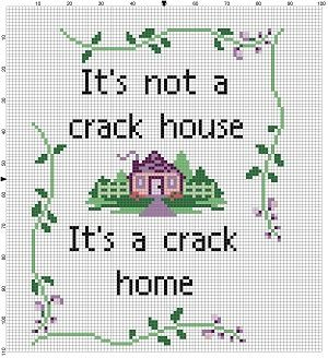 Its a crack home!!!!! Good Housewarming gift! The original stitch is in shades of purple (because I feel that purple is the colour that best represents crack homes) However, you can change it to whatever you like. I can help there, by changing the colours for you if you ask me nicely. Modern cross stitch pattern is designed on 14 count Aida. It will run a little larger than about 5x7 and will look awesome in an 8x10 frame with a matte. Perhaps you could sprinkle crack on the matte to make it…