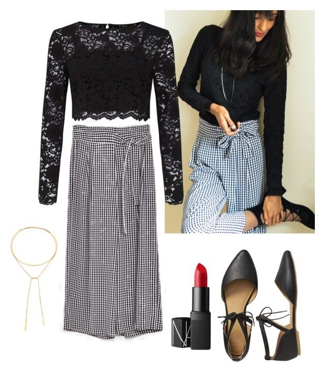 """""""Black outfit with red lips."""" by anujith ❤ liked on Polyvore featuring Miss Selfridge, Gap, Madewell, NARS Cosmetics, Oasis and zara_cropped_trousers"""