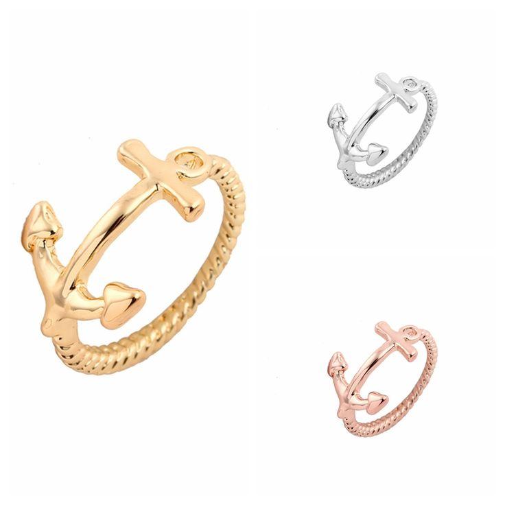 Мин 1 шт. Золото Серебро и Розовое Золото Симпатичные Якорь Женщины Кольца JZ010