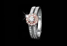 Calling all fashionistas! This is how you do serious style and glamour! This ring boasts a total of 0.29ct of diamonds set in 9ct white gold, accentuated by rose gold for extra flair.