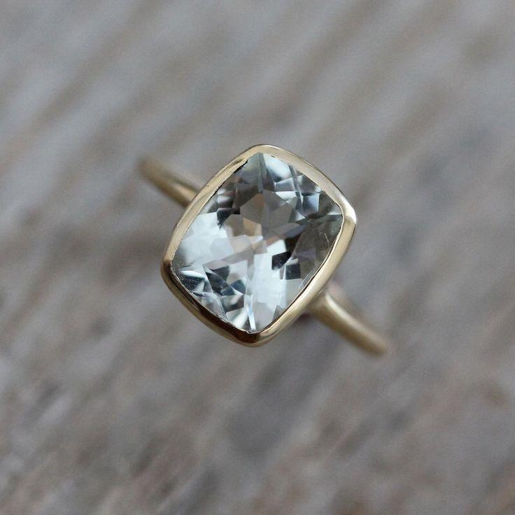 Cushion Aquamarine Ring, Rose Gold Engagement Ring, March Birthstone Ring for Her, Aquamarine Rose Gold Jewelry, Eco Gold Bezel Ring by onegarnetgirl on Etsy https://www.etsy.com/uk/listing/81124643/cushion-aquamarine-ring-rose-gold