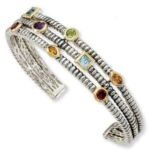 Sterling Silver with 14k 1.74tw Gemstone Cuff Bracelet Jewelrypot. $438.99