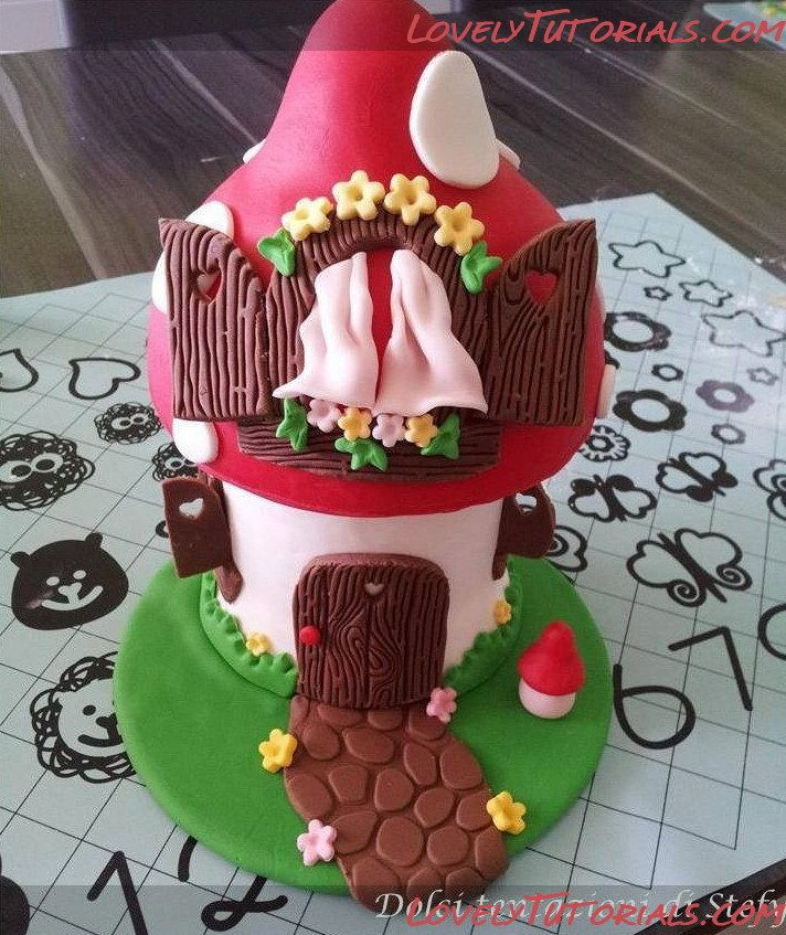 "МК лепка ""Домик-Гриб"" -Gumpaste (fondant, polymer clay) Mushroom house making tutorial - Мастер-классы по украшению тортов Cake Decorating Tutorials (How To's) Tortas Paso a Paso"