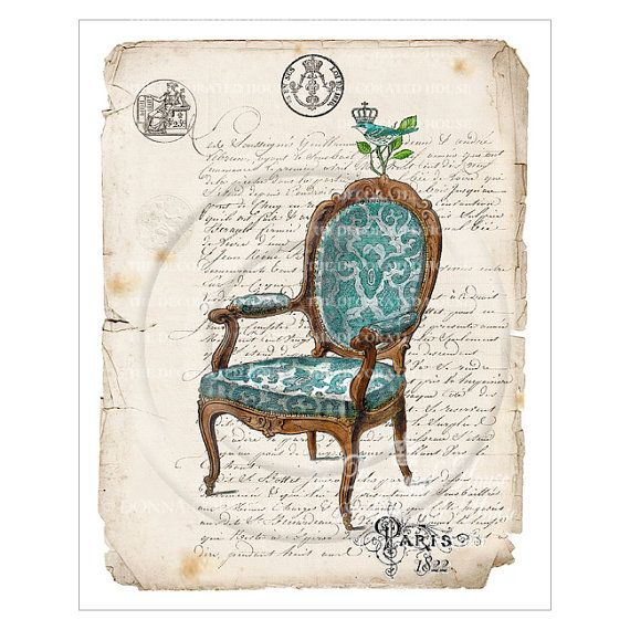 French Chair Art Print. Blue. French Script. Paris. Vintage Style Art Print 8 x 10 inches. Handmade by The Decorated House
