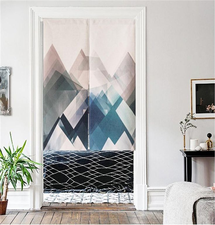 MR FANTASY Cotton Linen Japanese Noren Doorway Curtain Tapestry Modern Geometric Triangle Mountains Blue, 33x47 in
