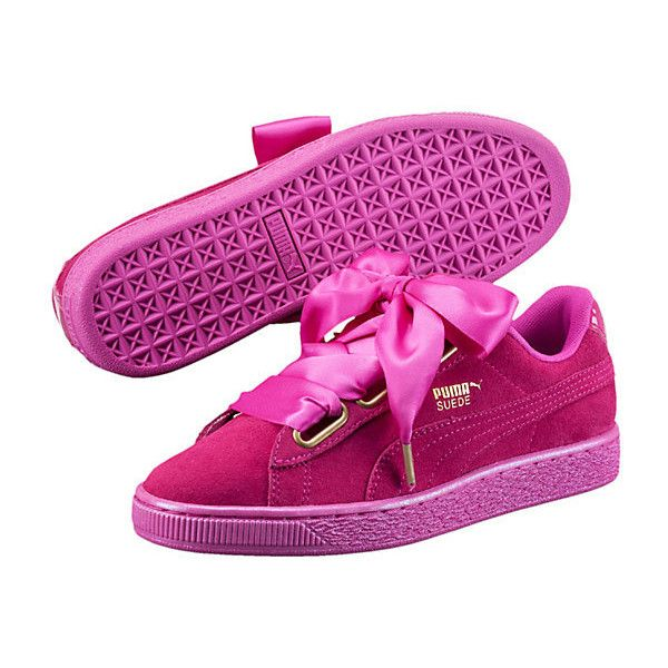 Puma Suede Heart Satin Women's Sneakers ($80) ❤ liked on Polyvore featuring shoes, sneakers, grip trainer, sports shoes, satin shoes, puma trainers and puma shoes