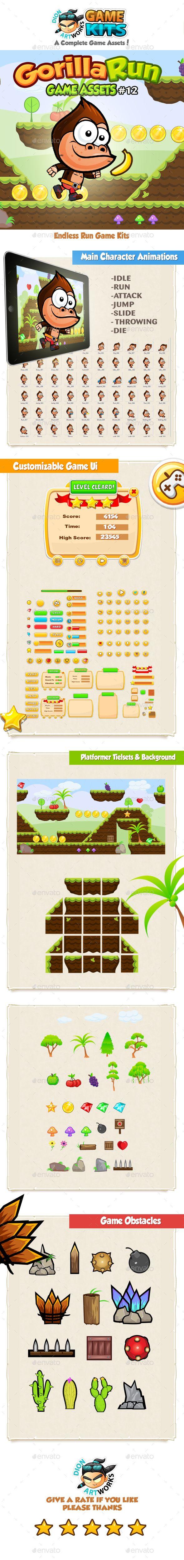Gorilla Run Platformer Game Assets 12 - Game #Kits #Game #Assets | Download http://graphicriver.net/item/gorilla-run-platformer-game-assets-12/14404283?ref=sinzo
