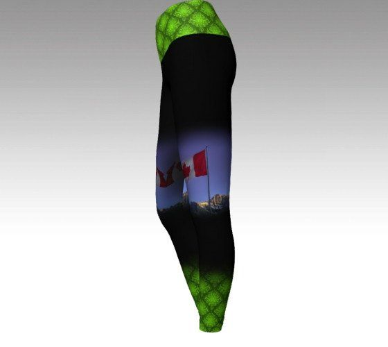 This full length legging has an elastic free yoga style waist. *super comfortable* for all your adventures and relaxation. Take a little Canmore with you!