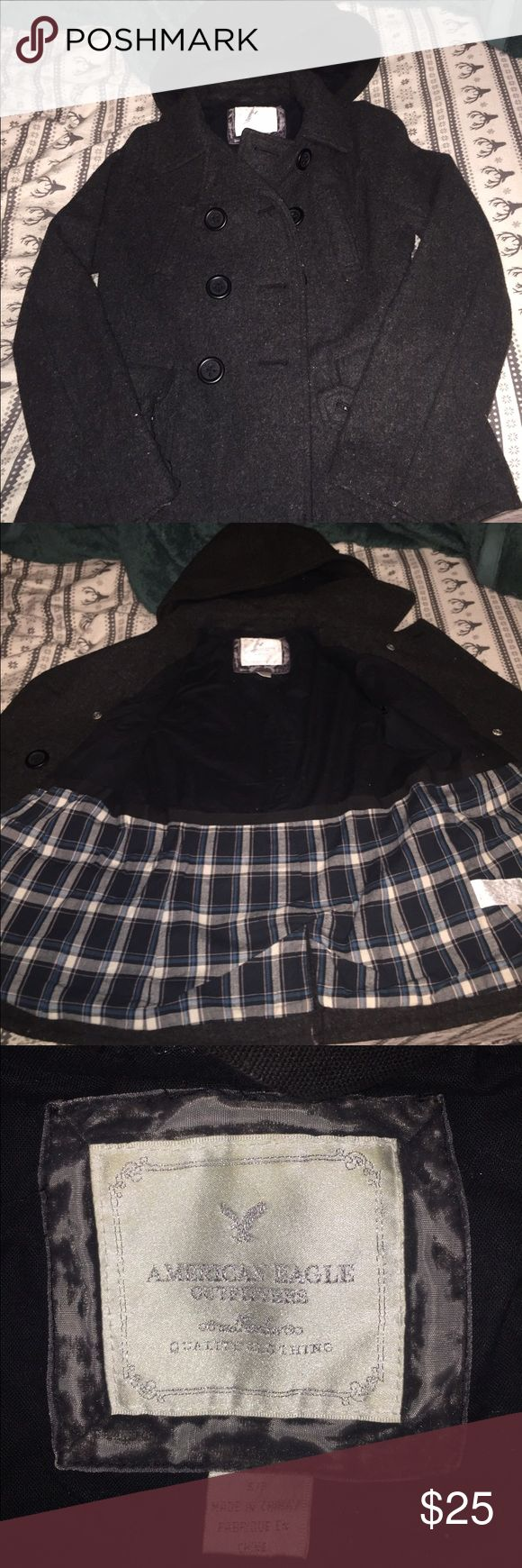 American Eagle Jacket black american eagle jacket with a hood, missing a button on the sleeve, size small American Eagle Outfitters Jackets & Coats Pea Coats